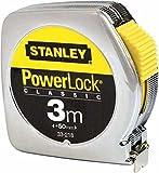 Stanley Bandmass Powerlock, 3m Länge, 12.7mm Bandmassbreite, verchromtes Metallgehäuse, Gürtelclip, 0-33-218