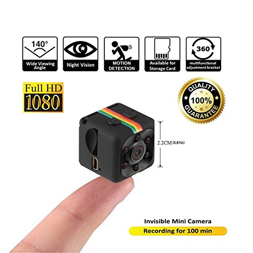 MMilelo 1080P Mini Kamera SQ11 HD Camcorder Surveillance Kamera Portable Tragbare Mini Versteckte Spionkamera mit Nachtsicht und Bewegungserkennung für Home / Office Indoor / Outdoor Security (Webcam Outdoor Usb)