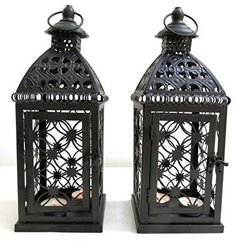 Marokkanische Laternen Set (Indoor Outdoor Schwarz Marokkanisches Design Set von 2Laternen Metall kein Glas kein Bruch)