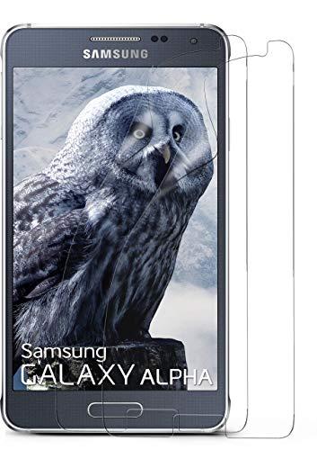 moex 2X Samsung Galaxy Alpha | Schutzfolie Klar Bildschirm Schutz [Crystal-Clear] Screen Protector Display Handy-Folie Dünn Bildschirmschutz-Folie für Samsung Galaxy Alpha Bildschirmfolie