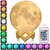 AFBEST 3D Mond Licht LED Nachttischlampe, Mond Lampe mit Touch Control &USB Wiederaufladbare &Anpassbare Helligkeit und 16 Farbe ,beste Licht für Kinderzimmer und Romantisch Licht Geschenk (12cm /15cm) (15mm)