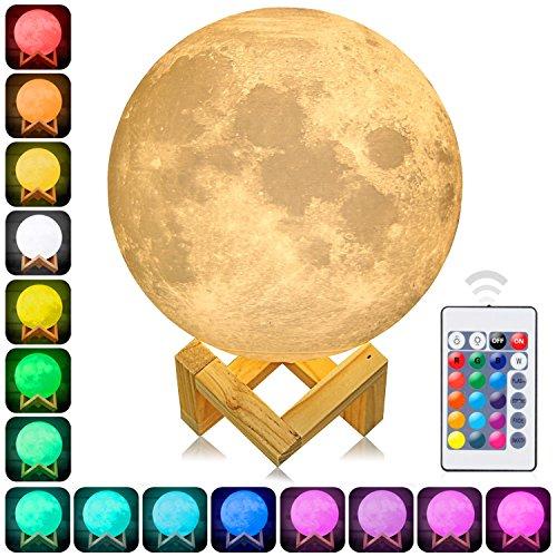 Lámpara Luna, Impresión 3D Lámpara de Luna Grande ,Brillo Ajustable, Recarga USB ,16 Colores por Remoto Control En 5 Metros ,Luna Inconsútil Luz Nocturna Lámpara con Soporte para Dormitorios, Regalo para el Día de la Madre