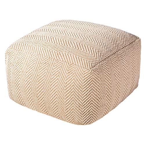Riess Ambiente Design Pouf Classic 51cm beige weiß Handarbeit Sitzhocker Sitzpouf Hocker