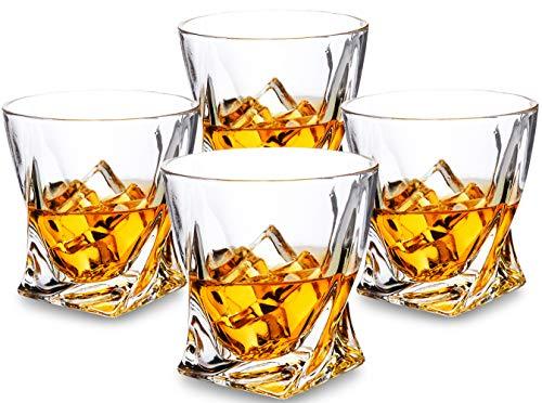 KANARS Twist 4er Set Whiskygläser, Spülmaschinentauglicher Whiskybecher, Hochwertige Qualität, 300ml