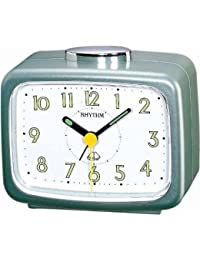 Rhythm Table clock Basic Bell alarm green Green 10.4x8.5x5.6 Cm