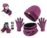 UMIPUBO Chapeau Hiver Chauffant Bonnet,Écharpe de Doublure Chaud,Gants Tactiles Tricot Unisexe Trois Pièces Ensemble (rose rouge)