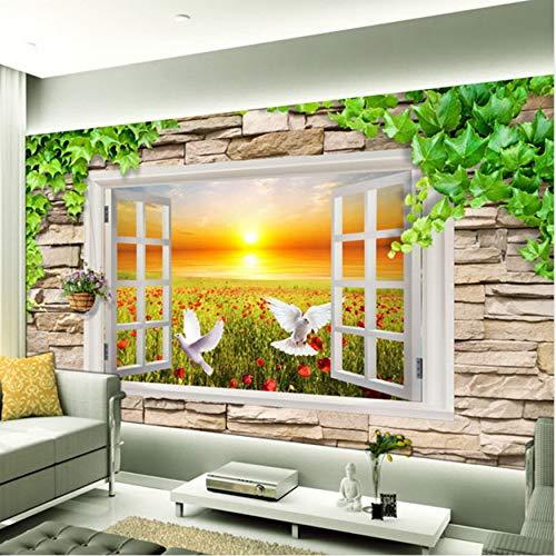 Wallpaper For Wall 3D Stereoscopic Window View Landscape Sunset Rose Field Brick Photo Non-woven Wall Mural Home DecorXXL 500X280CM
