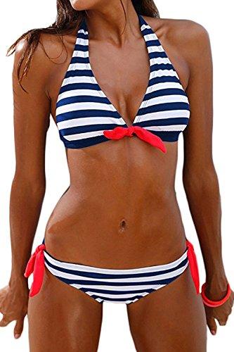AMAGGIGO Damen Bikini Push Up Gepolstert Streifen Tupfen Triangel Brasilianische Bademode Bikini-Sets (Large, Blaue Streifen) (Triangel-bikini)