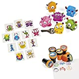 Lustige Monster Mitgebsel Set Schlüsselanhänger Kinderstempel und Tattoos 48 Teile Palandi®