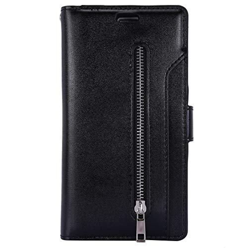 Herbests Kompatibel mit Huawei P30 Handyhülle Handytasche Reißverschluss Multifunktionale Hülle mit 9 Kartenfächer Leder Filp Wallet Tasche Cover Brieftasche Schutzhülle,Schwarz