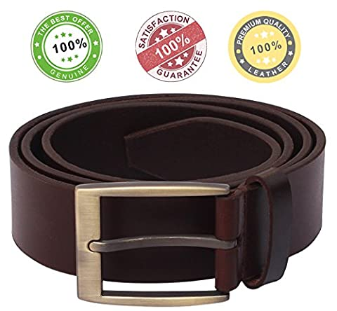 SouvNear Handmade 106.7 cm Brown Color Belt with a Metal Buckle Clasp - Classic Leather Belts for Pants / Trousers - Men's Fashion Accessories for Casual / Formal Wear