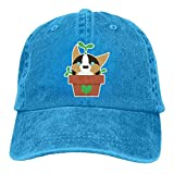 Potted Corgi Plant Denim Hat Adjustable Men Curved Baseball Cap