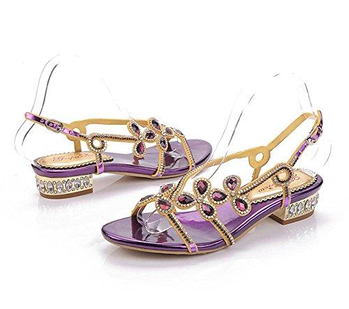 YMXJB Grossier avec les sandales de femmes boucles fashion strass 3
