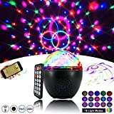 AOGUERBE Luci Discoteca LED, 16 Colori Palla Lampada da Palco RGB LED Mini DJ Palla Cristallo Luce di Scena Lampadina Rotante [Con Telecomando ] per Illuminazione KTV Bar Club (16 Colori Bluetooth)
