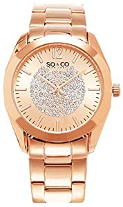 So & Co New York Madison Femme Montre à quartz avec affichage analogique et bracelet en acier inoxydable or rose cadran or rose 5096.3