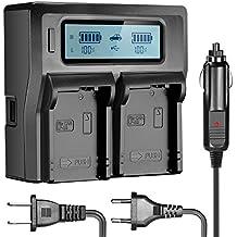 Neewer® Doble LCD Cargador de Batería para Canon LP-E8 Baterías Compatibles con Canon EOS 550D 600D 700D, EOS Rebel T2i T3i T4i T5i(Enchufe de los EEUU + Enchufe de la UE + Adaptador de Cargador de Coche)