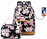 Teen Mädchen Schulrucksack Set Weiterführende Schule Hochschule Büchertasche Einkaufsrucksack 15 Zoll Laptop Rucksack mit Brotdose USB Ladeanschluss Rose Blumen