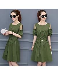 La mujer delgada de vídeo Foutune Verano de manga corta moda coreana una falda,S,verde