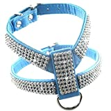 LIZONGFQ Hundehalsband Harness Kristall Diamant Haustier PU Leder für Haustier einstellbar Bling Strass Kragen Pet Produkte,Blue,L