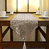 Shinybeauty schimmern Kupfer- Pailletten-Tabelle Läufer Quaste-30 X 180 cm