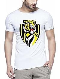 Pix Art Men's Tiger Printed White T-Shirt