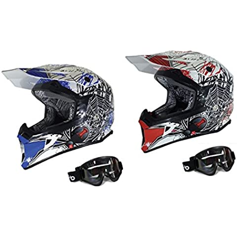 Adultos Motorcycle Racing Casco Viper X95moto motocicleta Off road Motocross casco enduro Cascos estéreo de patinete Quad con gafas negro Viuda (M, azul)