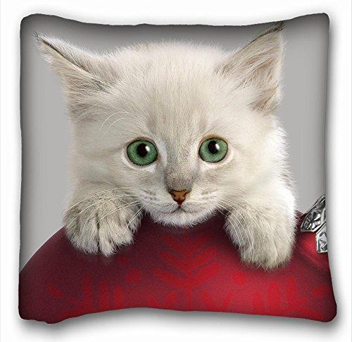 Dekorative Baumwollleinen, quadratisch Tiere Katze Maulkorb S Blau Augen Schnurrbart, 45,7x 45,7cm Zwei Seite, Polyester-Mischgewebe, Muster 7, European