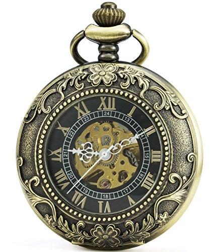 SEWOR Vintage Magnifier Skeleton Pocket Watch Mechanical Hand Wind Pocket Watch Include Brand Leather Box (Bronze)