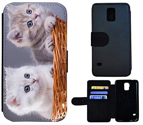 Flip Cover Schutz Hülle Handy Tasche Etui Case für (Apple iPhone 5 / 5s, 1560 Gitarre Abstract Schwarz Rot Gelb) 1568 Katze Kätzchen Katzenbabys Grau Weiß