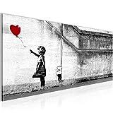 Bilder Banksy - Ballon Girl Street Art Wandbild 100 x 40 cm Vlies - Leinwand Bild XXL Format Wandbilder Wohnzimmer Wohnung Deko Kunstdrucke Weiß 1 Teilig -100% MADE IN GERMANY - Fertig zum Aufhängen 301612a