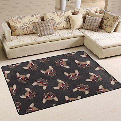 yibaihe leicht bedruckt Bereich Teppich Teppich Fußmatte Dekorative Französische Bulldogge Smile Sonnenbrille Doodle wasserabweisend leicht zu reinigen für Wohnzimmer Schlafzimmer, 183 x 122 cm