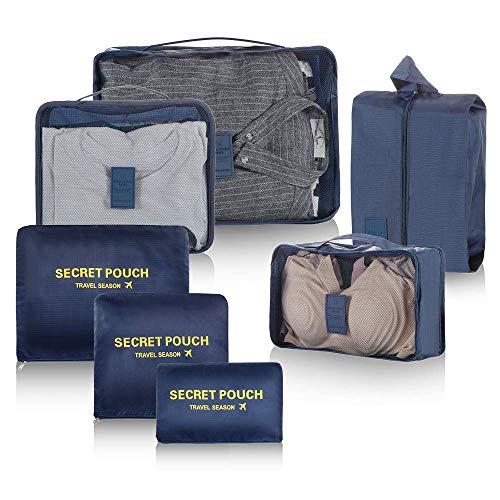 Newdora 7 en 1 Set de Organizador de Equipaje Viaje con Bolsa de Zapato,Impermeable Organizador de Maleta Bolsa para Ropa Sucia de Viaje, Material Nylon