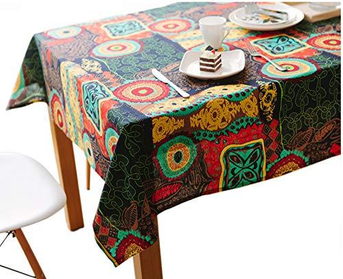 Nappe vintage Toechmo, Nappe de pique-nique rectangulaire en lin lavable, différentes tailles, Coton, Fleur colorée, 59 X 98 Inch (150*250CM)