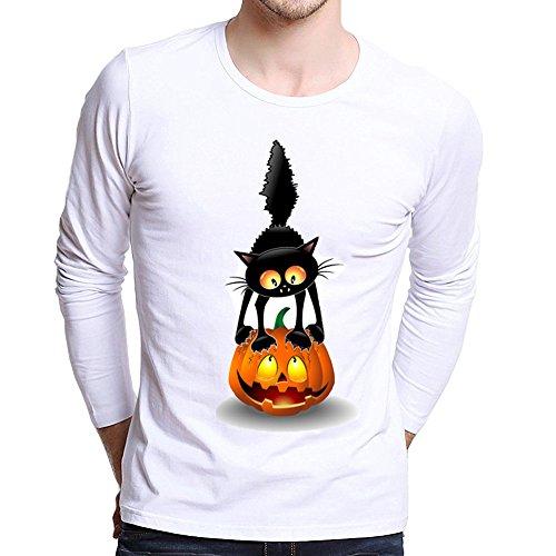UJUNAOR Männer Plus Size Gedruckt Tees Shirt Langarm Frauen-Halloween Kürbis T Shirt Bluse XS Bis 4XL(Weiß,CN XL)