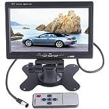 BW 7 pulgadas HD 800 * 480 TFT Color LCD Monitor de coche Car Rear View Cámara de apoyo para la cabeza Monitor DVD VCR de control remoto Monitor de apoyo Rotación de la pantalla y 2 AV entrada
