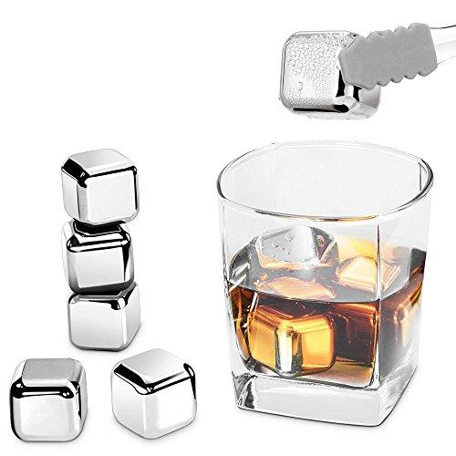 Die Whiskey Bar (Edelstahl Eiswürfel Ice Cubes Set von Riversong, 8 Wiederverwendbare Whisky Steine mit Zange, Zertifizierung FDA Zertifikat & BPA-frei)