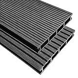 16M22,2m WPC Terrassendielen mit Zubehör grau Outdoor Terrassenfliesen Boden Wasser resistent, Wood Plastic Composite