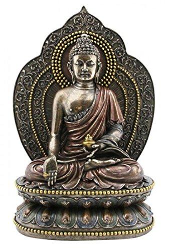Figur Bhaisajyaguru Buddha der Heilung und der Medizin auf Lotusthron Skulptur