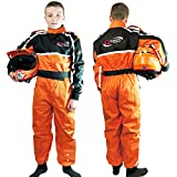 Qtech - Kinder Rennanzug für Gokart/Motocross/Dirt Bike - Orange - XL