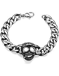 56feb89dbf44 Yiwa Creative Titanium Acier Concise rétro Tête de mort Bracelet en faire  trop personnalité Mode Décoration