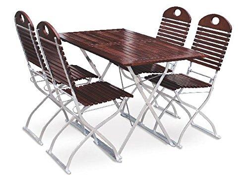 Biergartengarnitur 1x Tisch 120x70 cm & 4x Stuhl EuroLiving Edition-Exklusiv kastanie/verzinkt