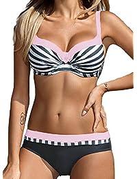 c35788cf5f5 cross1946 Women s Crystal Diamond Polka Dot Striped Solid Color Sexy Bikini  Set Push up Swimsuit…