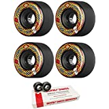 66mm Powell Peralta Snakes Longboard Skateboard Wheels with Bones Bearings - 8mm Bones Swiss Skateboard Bearings - Bundle of 2 items