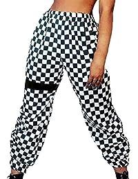 Mujer Pantalones Pantalones Verano Largos Elegantes Elastisch Bund A  Cuadros Pants Casuales Moda Hip Hop Basicas b19d4c30e35