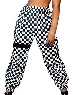 Mujer Pantalones Pantalones Verano Largos Elegantes Elastisch Bund A Cuadros Pants Casuales Moda Hip Hop Basicas...