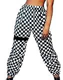Mujer Pantalones Pantalones Verano Largos Elegantes Elastisch Bund A Cuadros Pants Casuales Moda Hip Hop Basicas Pantalones De Tela Trousers Disfraz (Color : Negro, Size : M)