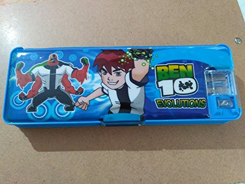 Multicolour Chhota Bheem Printed Pencil Box with LED Lamp and Double Sharpener
