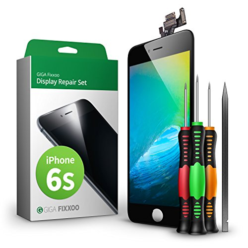 GIGA Fixxoo Display Set kompatibel mit iPhone 6s, Reparaturset Komplett Schwarz, Ersatz Bildschirm, Retina LCD Glas mit Touchscreen, inkl. integrierte Frontkamera & Werkzeug Lcd-display-kit