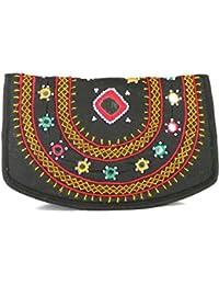 Womens Cottage Handmade Black Cotton Big Mirror Patch Work Hand Purse for Womens/Girls