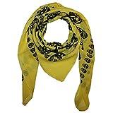 Superfreak Baumwolltuch mit Totenkopf Muster - Tuch - Schal - 100x100 cm - 100% Baumwolle - Farbe: gelb-schwarz